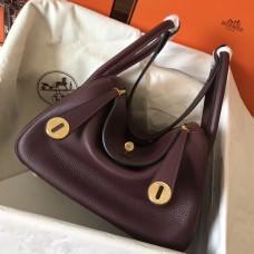 Hermes Bordeaux Lindy 26cm Clemence Handmade Bag