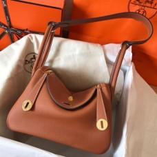 Hermes Gold Lindy 26cm Clemence Handmade Bag
