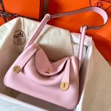 Hermes Pink Lindy 26cm Clemence Handmade Bag