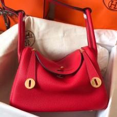 Hermes Red Lindy 26cm Clemence Handmade Bag