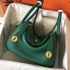 Hermes Vert Vertigo Lindy 26cm Clemence Handmade Bag
