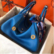 Hermes Blue Zanzibar Lindy 30cm Bicolor Handmade Bag