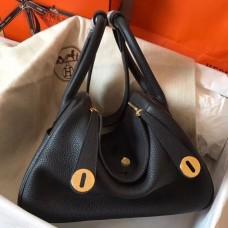 Hermes Black Lindy 30cm Clemence Handmade Bag