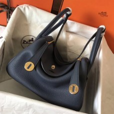 Hermes Dark Blue Lindy 30cm Clemence Handmade Bag