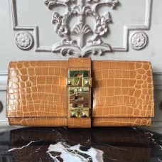 Hermes Medor Clutch Bag In Camarel Crocodile Leather