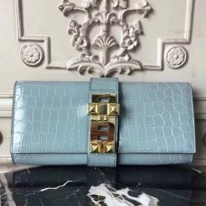 Hermes Medor Clutch Bag In Ciel Crocodile Leather
