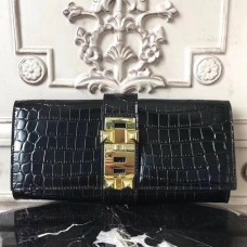Hermes Medor Clutch Bag In Black Crocodile Leather