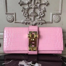 Hermes Medor Clutch Bag In Pink Crocodile Leather