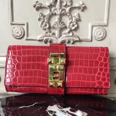 Hermes Medor Clutch Bag In Red Crocodile Leather