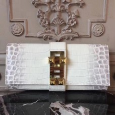 Hermes Medor Clutch Bag In White Crocodile Leather