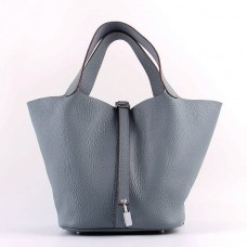 Hermes Picotin Lock Bag In Blue Lin Leather