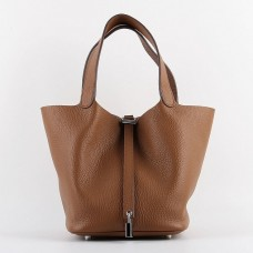 Hermes Picotin Lock Bag In Brown Leather