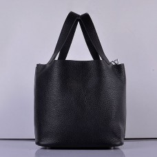 Hermes Picotin Lock Bag In Black Leather
