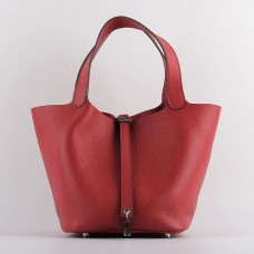 Hermes Picotin Lock Bag In Red Leather