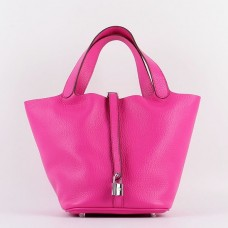 Hermes Picotin Lock Bag In Rose Red Leather