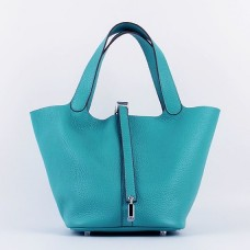 Hermes Picotin Lock Bag In Turquoise Leather