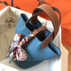 Hermes Bicolor Picotin Lock PM 18cm Blue Jean Bag