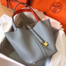Hermes Bicolor Picotin Lock PM 18cm Blue Lin Bag