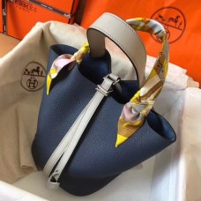 Hermes Bicolor Picotin Lock PM 18cm Sapphire Bag