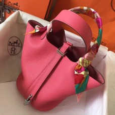 Hermes Rose Lipstick Picotin Lock PM 18cm Handmade Bag