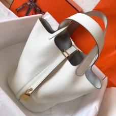 Hermes White Picotin Lock PM 18cm Handmade Bag