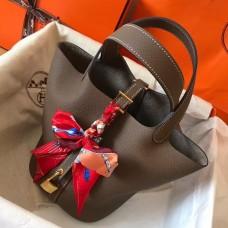 Hermes Taupe Picotin Lock MM 22cm Handmade Bag