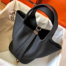Hermes Black Picotin Lock MM 22cm Handmade Bag