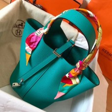 Hermes Blue Paon Picotin Lock MM 22cm Handmade Bag