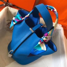 Hermes Blue Hydra Picotin Lock MM 22cm Handmade Bag