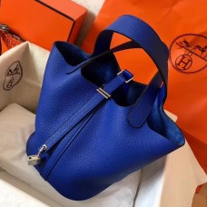 Hermes Blue Electric Picotin Lock MM 22cm Handmade Bag