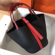 Hermes Bicolor Picotin Lock MM 22cm Black Bag