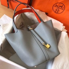 Hermes Bicolor Picotin Lock MM 22cm Blue Lin Bag