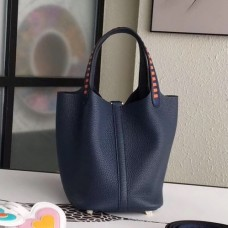 Hermes Navy Blue Picotin Lock 18cm Bag With Braided Handles