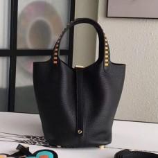 Hermes Black Picotin Lock 18cm Bag With Braided Handles