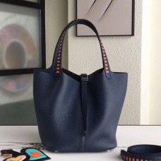Hermes Navy Picotin Lock 22cm Braided Handles Bag