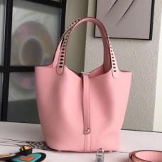 Hermes Pink Picotin Lock 22cm Braided Handles Bag