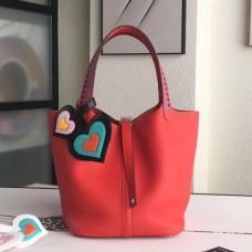 Hermes Red Picotin Lock 22cm Braided Handles Bag