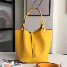 Hermes Yellow Picotin Lock 22cm Braided Handles Bag