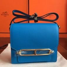 Hermes Mini Sac Roulis Bag In Blue Hydra Swift Leather