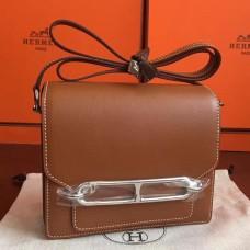 Hermes Mini Sac Roulis Bag In Caramel Swift Leather