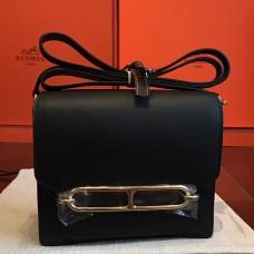 Hermes Mini Sac Roulis Bag In Black Swift Leather