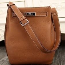 Hermes So Kelly 22cm Bag In Brown Leather