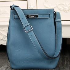 Hermes So Kelly 22cm Bag In Jean Blue Leather