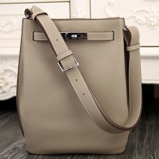 Hermes So Kelly 22cm Bag In Grey Leather