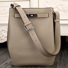 Hermes So Kelly 22cm Bag In Grey Leather