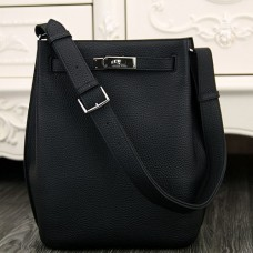 Hermes So Kelly 22cm Bag In Black Leather
