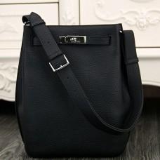 Hermes So Kelly 22cm Bag In Black Leather