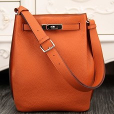 Hermes So Kelly 22cm Bag In Orange Leather