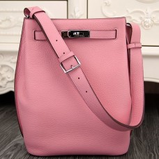 Hermes So Kelly 22cm Bag In Pink Leather