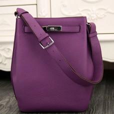 Hermes So Kelly 22cm Bag In Purple Leather